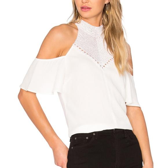 480f3058485fa6 A.L.C. Rora Cold Shoulder Top in White